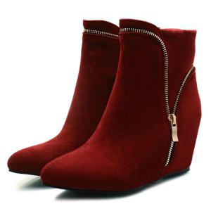 Hidden Wedge Pointed Toe Short Boots - DEEP RED 38