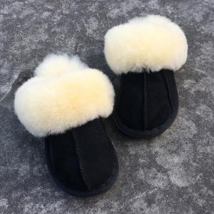 Stitching Faux Fur Dark Color House Slippers -