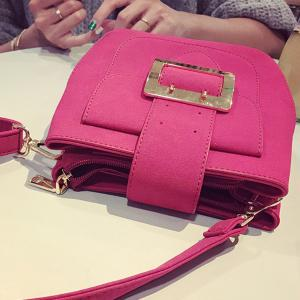 PU Leather Buckle Magnetic Closure Crossbody Bag - ROSE MADDER