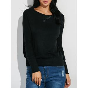 Ribbed Button Embellished Knitwear - Black - S