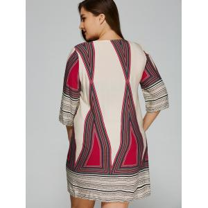 Plus Size Embroidered Geometric Print Dress - DEEP RED L