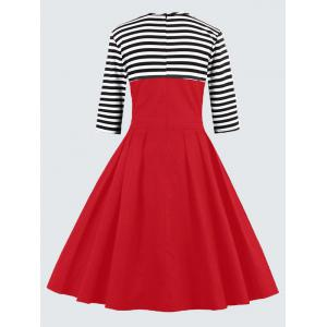 Plus Size Vintage Striped Button Embellished Dress - RED 5XL