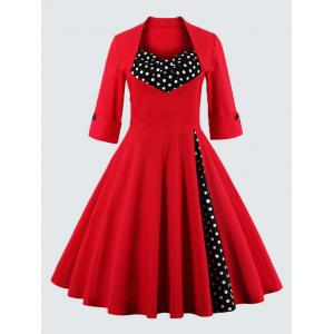 Plus Size Vintage Polka Dot Dress - Red - 4xl