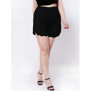 Scalloped High Waist Wide-Leg Shorts - BLACK 4XL