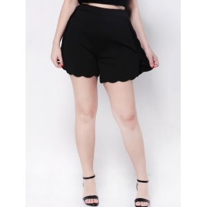 Scalloped High Waist Wide-Leg Shorts