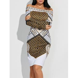 Off Shoulder Geometric Bodycon Dress with Long Sleeves