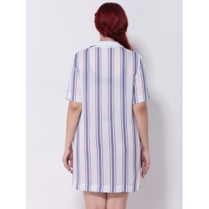 Striped Furcal Chiffon Longline Blouse - STRIPE 5XL