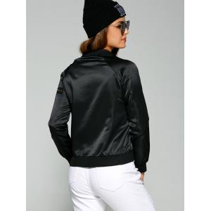 Zippered Satin Bomber Jacket -