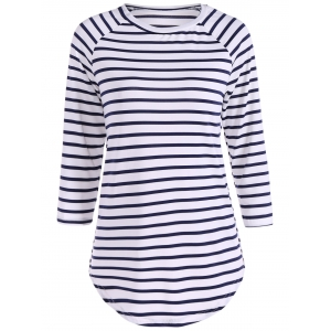 Striped Raglan Sleeve Slimming T-Shirt - Blue And White - S