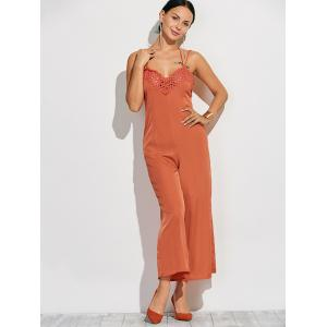Crochet Spliced Back Cutout Cami Jumpsuit -