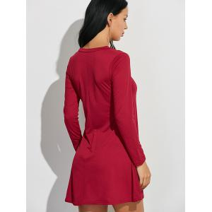V-Neck Loose-Fitting Plain Dress - DEEP RED XL