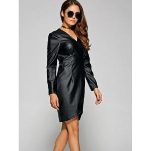 V Neck Faux Leather Long Sleeve Dress -