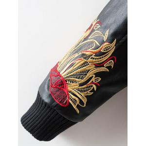 PU Souvenir Jacket with Flower Embroidery -