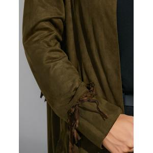 Fringe Maxi Suede Coat - ARMY GREEN M