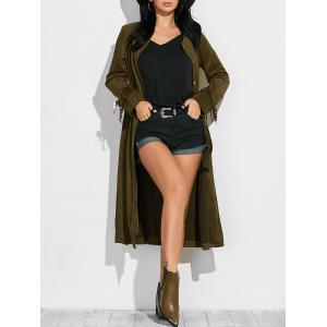 Fringe Maxi Suede Coat - Army Green - S