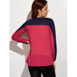 Sequin Long Sleeve Color Block T-Shirt - RED M