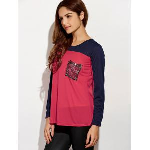 Sequined Color Block T-Shirt - RED M