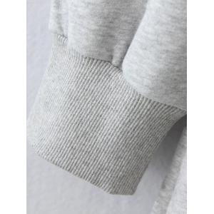 Plus Size Fleece Pocket Patched Long Hoodie - GRAY 2XL