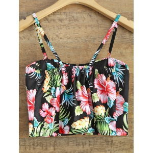 Floral Print Front Zipper Padded Cropped Cami Top -