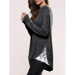 Lace Insert Asymmetric Pullover Long Sleeve Sweater - Black - L