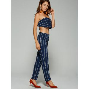 Tie-Back Tube Top and Striped Pants -