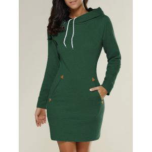 Tight Short Long Sleeve Long Hoodie Mini Dress - Green - S
