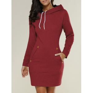 Tight Short Long Sleeve Long Hoodie Mini Dress - Red - S