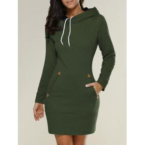 Tight Short Long Sleeve Long Hoodie Mini Dress - Army Green - Xl