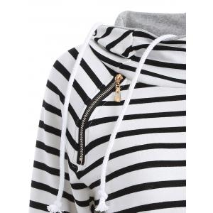 Inclined Zipper Striped Hoodie - WHITE AND BLACK XL