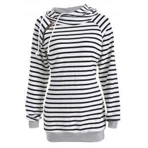 Inclined Zipper Striped Hoodie