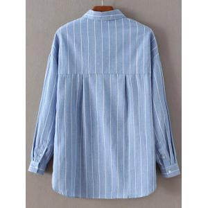 Long Sleeve Embroidered Striped Shirt - AZURE M