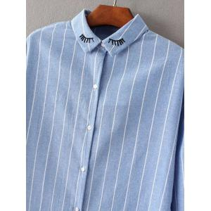 Long Sleeve Embroidered Striped Shirt - AZURE XS