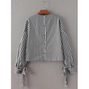 Checked Back Button Crop Blouse - BLACK M