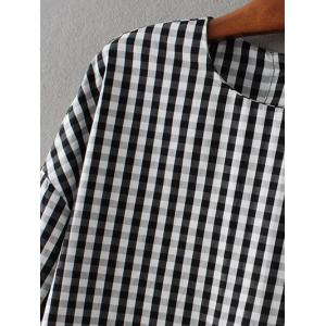 Checked Back Button Crop Blouse -