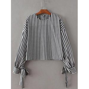 Checked Back Button Crop Blouse - Black - Xs