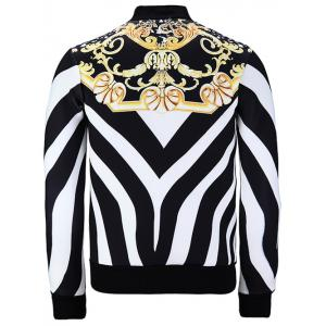 Stand Collar Zebra Stripe Floral Print Jacket - WHITE/BLACK XL
