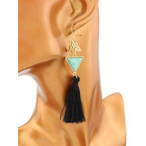 Artificial Turquoise Triangle Tassel Earrings - GREEN