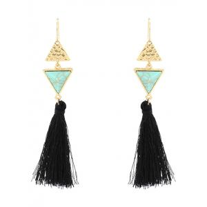 Artificial Turquoise Triangle Tassel Earrings