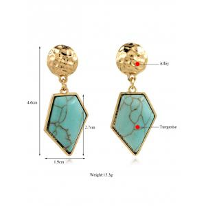 Artificial Turquoise Irregular Geometric Earrings -