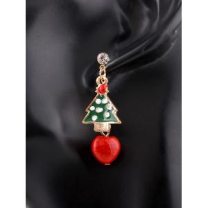 Rhinestone Santa Christmas Tree Asymmetric Earrings - COLORMIX