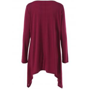 Long Sleeve Plus Size Double-Breasted Asymmetrical T-Shirt - WINE RED 5XL