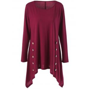 Long Sleeve Plus Size Double-Breasted Asymmetrical T-Shirt - Wine Red - 5xl