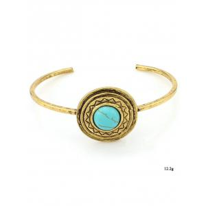 Faux Turquoise Circle Floral Cuff Bracelet - GREEN