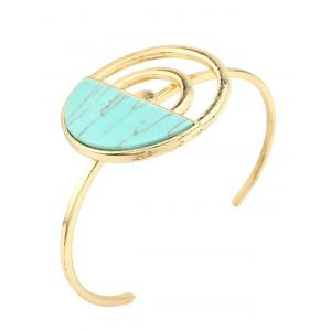 Artificial Turquoise Half Circle Cuff Bracelet - GREEN