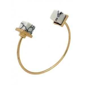 Artificial Turquoise Square Cuff Bracelet - White - One Size