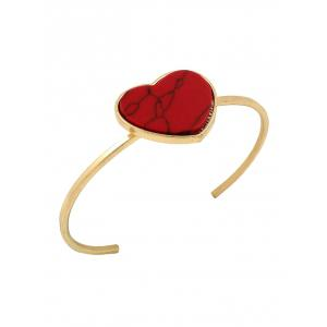 Artificial Gem Heart Cuff Bracelet