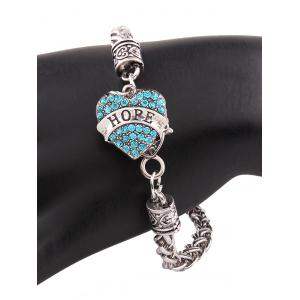 Rhinestone Engraved Hope Heart Charm Bracelet -