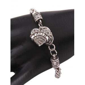 Rhinestone Engraved Faith Heart Charm Bracelet -