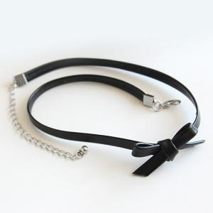 Faux Leather Bowknot Choker Necklace -