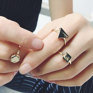 Vintage Geometric Jewelry Ring Set - Golden - One-size